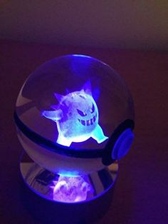 Pokeball Pokemon Toys night light,made of K9 Crystal laser engraved, with Led rotating base #pokemonmemes