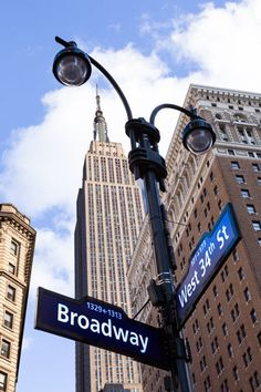 Broadway 34th Street Sign Print, Empire State Building New York City Photography, NYC Decor, I Love
