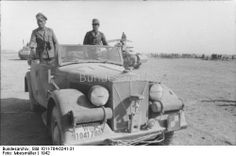 "North Africa, 1942 - Erwin Rommel in open car ""Horch""."