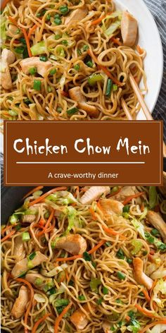 This Chow Mein Recipe is just like what you get at your favorite Chinese restaurant but it s made at home in under 30 minutes It s made with tender noodles fresh sauteed veggies lean chicken and a simple savory sauce dinners noodle chickenrecipe Homemade Chinese Food, Easy Chinese Recipes, Chinese Food Recipes Chicken, Chicken On A Stick Recipe Chinese, Chicken And Veggie Recipes, Chinese Noodle Recipes, Authentic Chinese Recipes, Shredded Chicken Recipes, Chinese Dinner