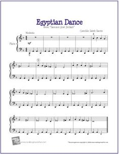 Egyptian Dance by Camille Saint-Saëns | Free Sheet Music for Easy Piano - http://makingmusicfun.net/htm/f_printit_free_printable_sheet_music/egyptian_dance_piano.htm