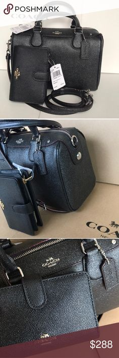 coach bennette setblack color Both authentic brand new with tags . Bag black color silver hard wear , strap removable . Wallet black color gold hard wear. Coach Bags Crossbody Bags