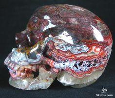 Minerals And Gemstones, Rocks And Minerals, Carved Skulls, Dark Mask, Cane Handles, Human Skull, Skull Bracelet, Crazy Lace Agate, Crystal Skull