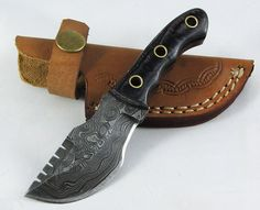 Moorhaus Handmade Damascus Walnut Wood Black  Blue Mini Tracker Knife with Leather Sheath -- Details can be found by clicking on the image.