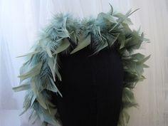 Sage green feather trim - $9.95 per yard