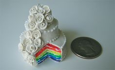 Smallest rainbow wedding cake. tjcphotographer