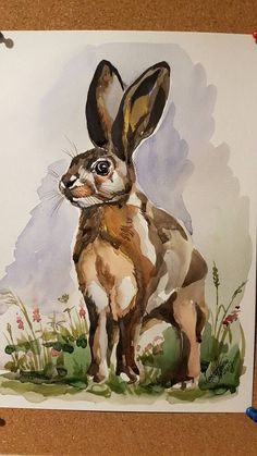 Original watercolour painting Hare Unframed Signed by by LanaArkhi