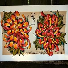 Really enjoyed painting this sheet. The orange one is up for grabs. I'll hook it up on a flat rate. zacharaihbowden@gmail.com #brushlined #liquidacrylic #chrysanthemums #watercolorpainting #tattooflash #spitshaded #tattooflashsheet #tattooflashswap #pma