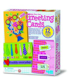 4M PROJECT KITS, Make Your Own Greeting Cards. This childrens card making set contains 12 ready to make coloured cards, 12 unfolded envelopes, 6 sheets of pattern templates, 1 sheet of alphabet stickers, ribbon, flower petals, pearl bead, double sided adhesive foam, double sided adhesive tape, glue, glitter, and full colored detailed instructions. (Product#: FMK-3623) #holiday #occasion #craft #crafting #hobby