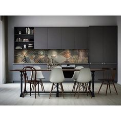 41 Awesome Scandinavian Dining Room Design With Swedish Style - Home Design Modern Kitchen Cabinets, Kitchen Interior, New Kitchen, Grey Cabinets, Kitchen Craft, Kitchen Ideas, Kitchen Shelves, Kitchen Dining, Dutch Kitchen