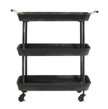 Mounted on four castors for easy mobility, our unique trolley features three tray shelves, with two handles to the top and a black finish. Use as a bar cart, or simply to store and display your favourite items. Cocktail Trolley, Drinks Trolley, Trolley Table, Kitchen Trolley, Serving Cart, Serving Table, Black Daybed, Diy Daybed, Iron Shelf