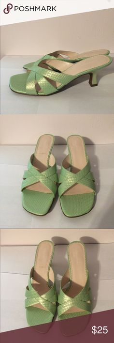 "Naturalizer Heeled Sandal Naturalizer green snake Heeled sandal with approx 2.5"" heel in excellent used condition. These are practically brand new. Original box included. Naturalizer Shoes Sandals"