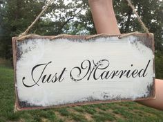 Hey, I found this really awesome Etsy listing at https://www.etsy.com/listing/155843989/just-married-sign