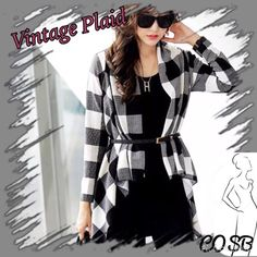 Vintage Black & White Plaid Open Cardigan Black & White Vintage Plaid Open Cardigan with Black Tassels in the back. Open Jacket is loose fitting with hanging black tassels in the back. Belt not included. Light weight wool. Wear as a jacket, open cardigan, or accent piece. OS... Will fit Sizes Small-Large Cycle Boutique Jackets & Coats
