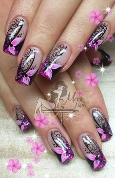 8 Fantastic Pink Nail Designs Glitter Color Combos 2019 : Have a look! glitter color comb is a great want of most of the women when they think about nail art design. and if I say you now that today you will get some unbelievable glitter color comb for you Fingernail Designs, Pink Nail Designs, Fancy Nails, Cute Nails, Nagel Hacks, Pretty Nail Art, Purple Nails, Flower Nails, Stylish Nails