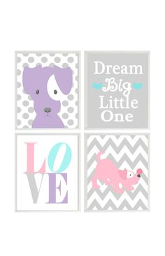 Puppy Nursery Art, Dog Wall Art, Dream Big Little One, Love Print, Polka Dot Chevron, Baby Girl Room, Girl Nursery, Pink Purple Aqua Gray Set 4 Prints (Frames not included) You can customize print to your own color choices or use above color selection. Make them all the same color or all different. Color choices are show above for the background and the object in print. How To Customize: ********************* When checking out, please leave me a message in the Note To Seller section....