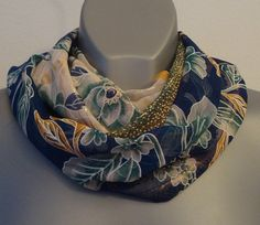ON SALE Floral infinity scarf, lightweight chiffon, Multicolor, Navy blue, Green, Orange color, Women fashion, Eternity circle scarves, Uniq - €13.77 EUR