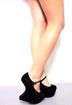 Black Platform Heel Less Gaga Suede Wedges Shoes
