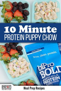 Sneak in some protein while satisfying your sweet tooth with this Funfetti Protein Puppy Chow recipe. By swapping the powdered sugar for protein powder, you will be snacking on a treat that tastes like cake, but healthier! Oh, and it's made in 10 minutes! Vegetarian Meal Prep, Vegan Lunch Recipes, Vegan Breakfast Recipes, Vegan Snacks, Easy Snacks, Snack Recipes, Healthy Recipes, Healthy Foods, Free Recipes