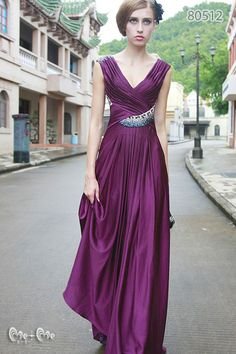 deep violet standard long shot dress