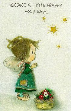 I go nuts over anything Betsey Clark (from Hallmark Cards). They are the sweetest little pieces of art. Vintage Cards, Vintage Images, Christmas Art, Vintage Christmas, Sending Prayers, Caricatures, Hallmark Greeting Cards, Clark Art, Little Prayer