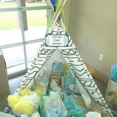 Gift tee pee for baby shower tribal pow wow
