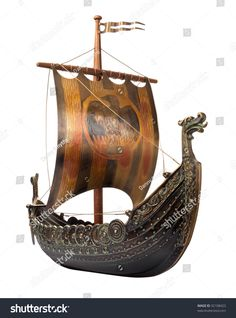 Antique Viking Ship Model isolated on white
