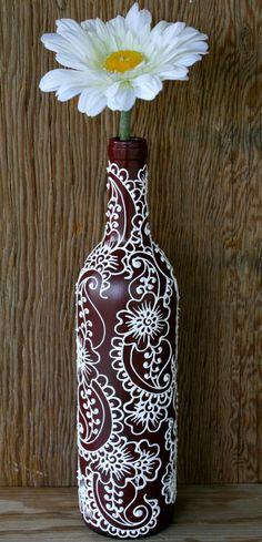 Wine bottle vase, henna influenced design, burgundy / maroon wine bottle with white accents Wine bottle vase, henna influenced design, burgundy / maroon wine bottle with white accents Wine Bottle Vases, Empty Wine Bottles, Glass Bottle Crafts, Painted Wine Bottles, Diy Bottle, Bottles And Jars, Glass Bottles, Decorated Wine Bottles, Garrafa Diy
