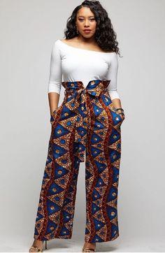 Lina African Print Wide Leg Envelope Pant (Blue Pyramids) – D'IYANU Source by Fashion dresses African Print Jumpsuit, African Print Clothing, African Print Dresses, Modern African Dresses, African Prints, African Fabric, Ankara Dress Styles, Kente Styles, Ankara Gowns