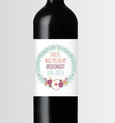 Will You Be My Bridesmaid, Maid of Honor, Matron of Honor Wine Label  ǀ  Second City Stationery