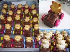 Kids Party Food Ideas Mini roll trains 6 smartie wheels