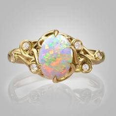 df325f963da532 Australian Opal engagement ring, Twist Opal Ring, Unique Engagement ring, Opal  ring, Oval Opal Ring, Twig Opal Ring, Leaf Opal Ring, 17