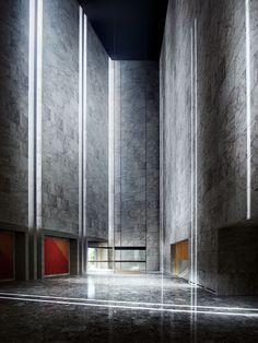 The lobby of the National Bank of Denmark, Copenhagen, by Arne Jacobsen 1965–70.