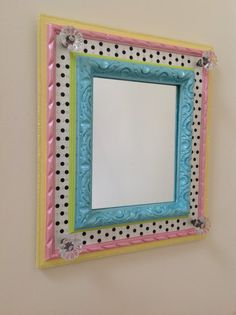 Whimsical Hand Painted Mirror in Pastels by sharonmooradian