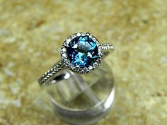 AAAA Natural London Blue Topaz Round Carats in white gold Halo ring with carats of diamonds MMM 4003 – Halo Rings Bling Bling, Jewelry Rings, Jewelery, White Gold Jewelry, Ring Verlobung, London Blue Topaz, Halo Rings, Or Rose, Rose Gold
