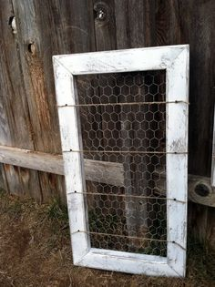Pure White Rustic Organizer Card Holder Picture Memo Board Photo Display Message Center Reclaimed Wood & Chicken Wire. $42.00, via Etsy.