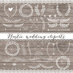 Vector Rustic wedding cliparts by burlapandlace on Creative Market