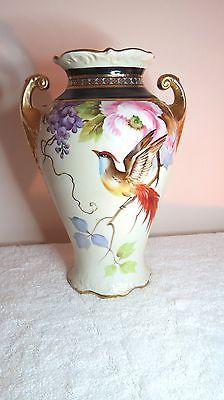 Noritake hand painted phoenix bird vase 11 inches high by Morimura Bros. NR