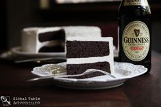 Guinness Chocolate Cake with Bailey's Buttercream... Get in my belly!    via http://globaltableadventure.com/2011/08/04/recipe-dark-chocolate-guinness-cake-with-baileys-buttercream/#