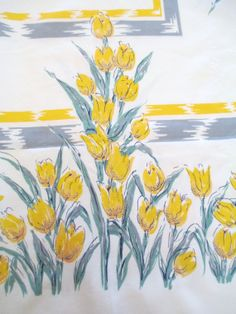 Vintage 1950's Tulips Printed Cotton Tablecloth,  Yellow Gray Spring Flowers,  Cottage Farmhouse Kitchen