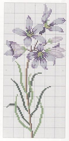 Cross-stitch Finger Flower chart  ... no color chart available, just use the pattern chart as your color guide.. or choose your own colors...