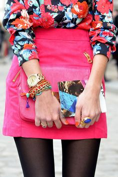 gold accessories with pink and floral