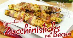 Low-Carb Zucchinisticks mit Bacon - Ein wunderbar herzhaft-würziger Snack. Zucchini mit Bacon & geriebenen Käse im Ofen herrlich knusprig goldbraun gebacken