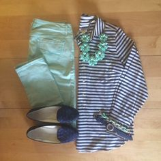 navy striped shirt, mint skinny jeans, polka dot loafers, beaded rose necklace, work wear, professional, office outfit | IG: @whitecoatwardrobe