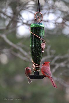 the garden-roof coop: DIY Glass Bottle Bird-Feeders