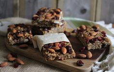 Dates, maple syrup and dried cranberries sweeten this homemade variation of granola bars, minus the added sugar. While these bars make for a quick and easy breakfast option, they will work equally …