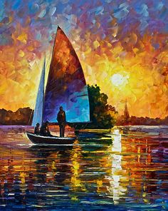 Sunset By The Lake - Original Art Oil Painting On Canvas By Leonid Afremov