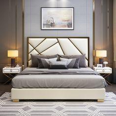 Bed Headboard Design, Room Design Bedroom, Bedroom Furniture Design, Headboards For Beds, Bed Furniture, King Size Bed Designs, Bed Back Design, King Size Bedroom Sets, Luxurious Bedrooms