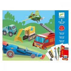 Djeco DJ09702 - 5 Paper Toys - I veicoli - lalberoazzurro.net
