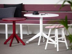 Locus pedestal table design Roger Persson | Shell stool design Note | Kamon Lounge design Moni Beuchel | Produced by Karl Andersson & Söner